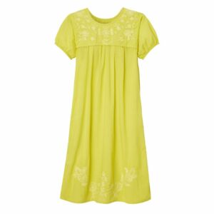 Short sleeve dress with embroidery, lemon