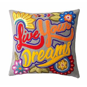 "Cushion cover with embroidery ""Girl Power"""