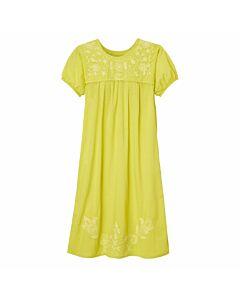 Kurzärmeliges Kleid mit Blumenstickerei, limone