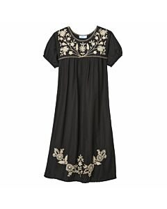 Kurzärmeliges Kleid mit Blumenstickerei, schwarz