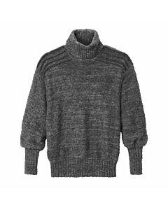 Handgestrickter Alpaka-Pullover, grau
