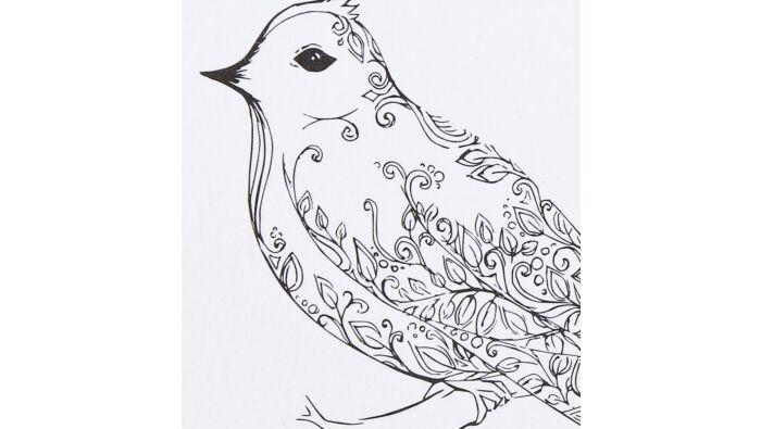 Ausmalkarte, Vogelmotiv