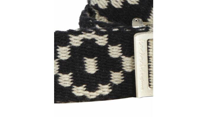 Handgewebter und bestickter Gürtel, schwarz weiß